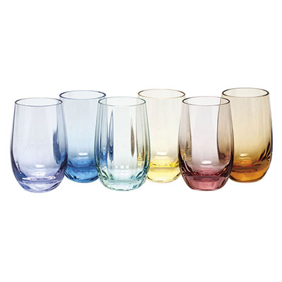 Moser Crystal Optic Vodka 2.7 Oz. Set Of 6 Rainbow Colors