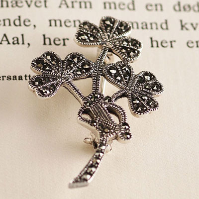 Cashs Ireland, Shamrock and Harp Pin, Sterling Silver