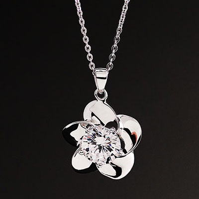 Cashs Ireland, Crystal Sterling Silver Irish Rose Solitaire Pendant Necklace