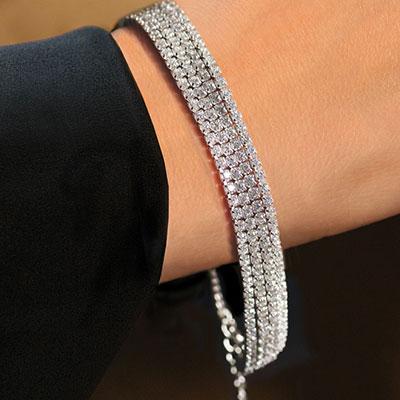 Cashs Ireland, Sterling Silver Diamante Soft Crystal Bracelet