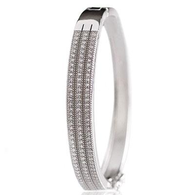 Cashs Ireland, Crystal Pave Sterling Silver Elegance Triple Hinged Bracelet