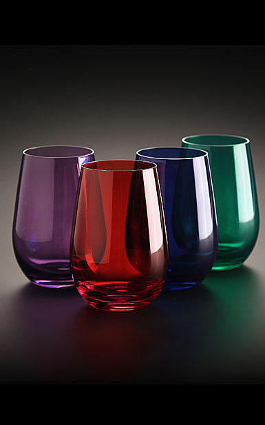 Marquis By Waterford Vintage Jewels Colored Stemless Wine, Set of Four