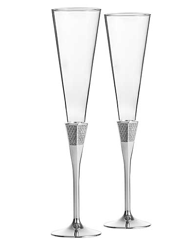 Waterford Crystal, Lismore Diamond Silver Toasting Crystal Flutes, Pair