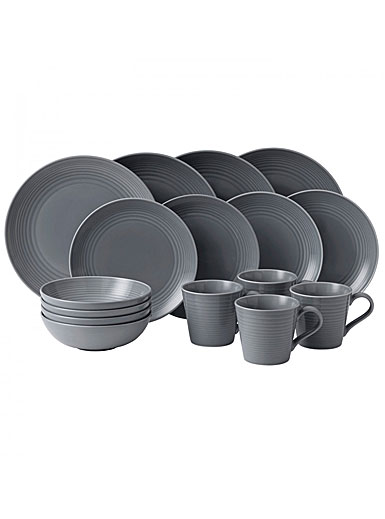 Gordon Ramsay by Royal Doulton Maze Dark Grey 16 Piece Set