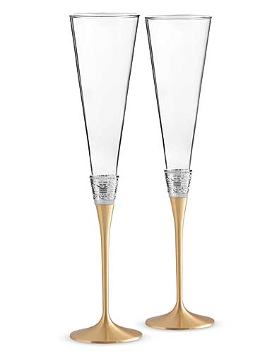 Vera Wang Wedgwood, With Love Gold Toasting Crystal Flutes, Pair