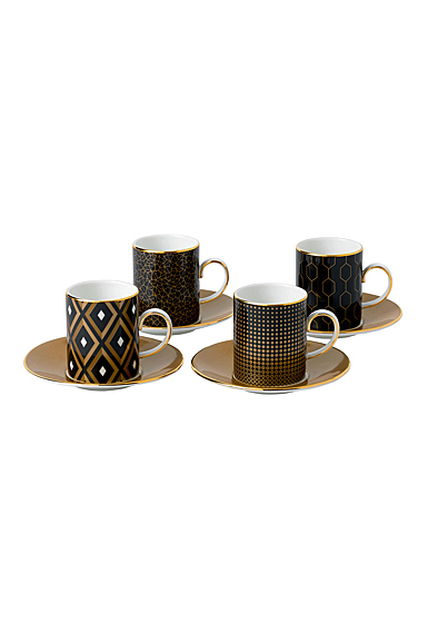 Wedgwood Arris Accent Espresso Cup and Saucer Set of 4