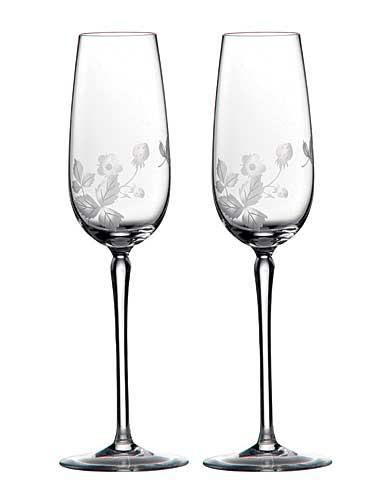 Wedgwood Wild Strawberry Al Fresco Glass Champagne Flute, Pair