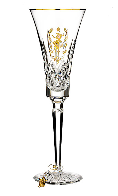 Waterford Crystal 2018 12 Days Collection Lismore Nine Ladies Flute Gold, Single