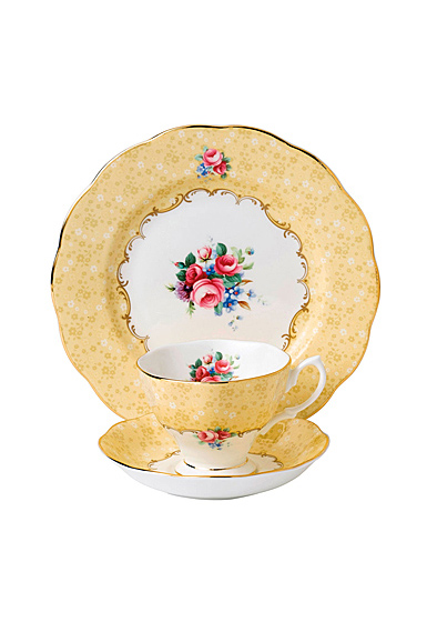 """Royal Albert 100 Years 1990 Teacup, Saucer and 8"""" Plate Setbouquet"""