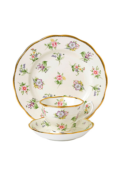 """Royal Albert 100 Years 1920 Teacup, Saucer and 8"""" Plate Setspring Meadow"""