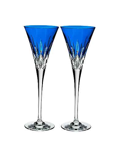 Waterford Crystal, Lismore Pops Cobalt Toasting Crystal Flutes, Pair