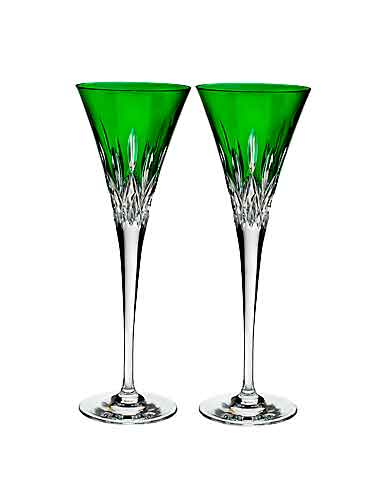 Waterford Crystal, Lismore Pops Emerald Toasting Crystal Flutes, Pair
