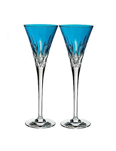 Waterford Crystal, Lismore Pops Aqua Toasting Crystal Flutes, Pair