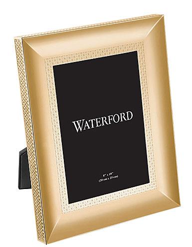 "Waterford Crystal, Lismore Diamond Gold 8x10"" Metal Frame"