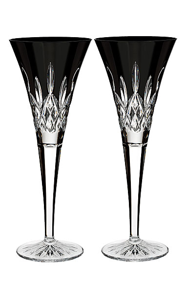 Waterford Crystal, Lismore Black Champagne Toasting Flutes, Pair