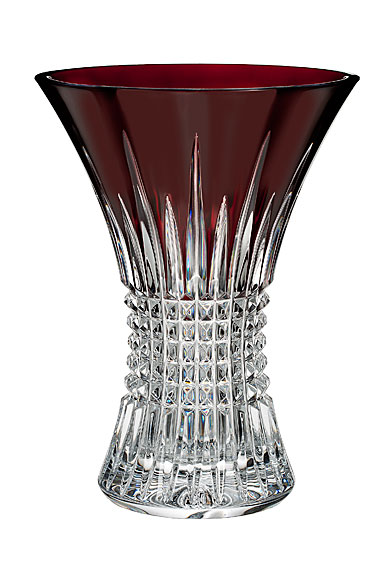 "Waterford Crystal, Lismore Diamond Red 8"" Crystal Vase"