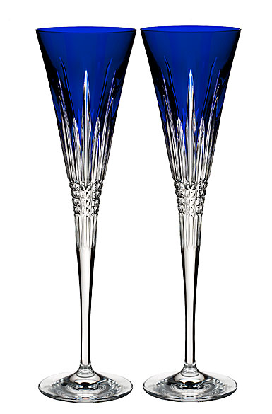 Waterford Crystal, Lismore Diamond Cobalt Toasting Crystal Flutes, Pair