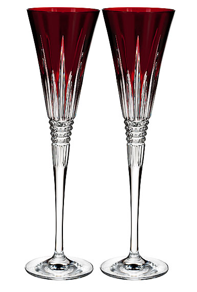 Waterford Crystal, Lismore Diamond Red Toasting Crystal Flutes, Pair