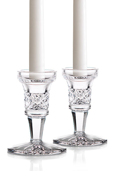 "Waterford Crystal, Footed 4"" Candlesticks, Pair"