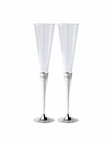 Wedgwood Silver, Simply Wish Toasting Crystal Flute, Pair