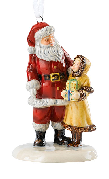 Royal Doulton 2018 Santa With Girl Christmas Ornament