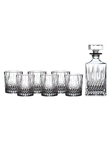 Royal Doulton, Earlswood Whiskey Crystal Decanter and Tumbler, Set of Six