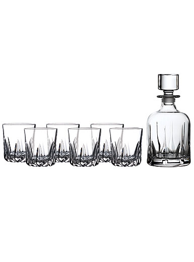 Royal Doulton, Mode Whiskey Crystal Decanter and Tumbler, Set of Six