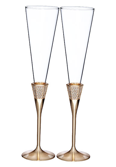 Waterford Lismore Diamond Gold Toasting Flutes, Pair