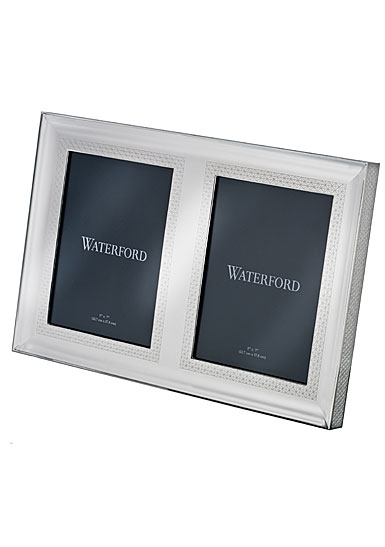 "Waterford Crystal, Lismore Diamond Silver 5x7"" Double Invitation Frame"