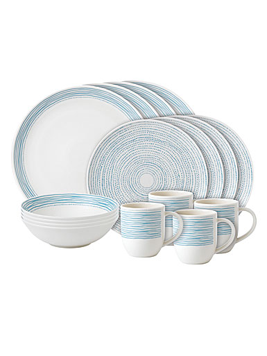 ED Ellen DeGeneres by Royal Doulton Polar Blue Dots 16 Piece Set