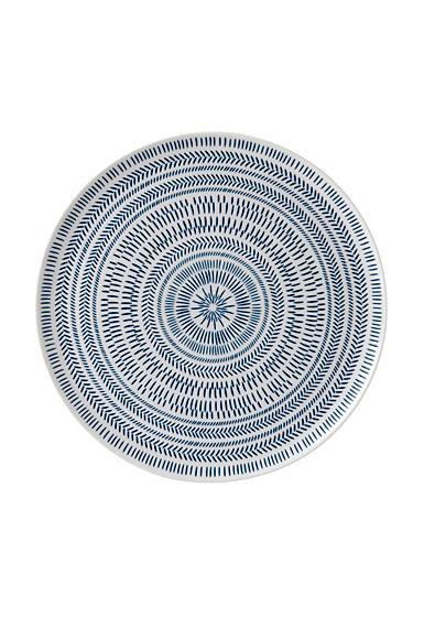 "Ed Ellen Degeneres Royal Doulton Cobalt Blue Chevron Serving Platter 12.5"""