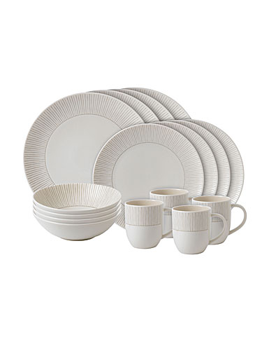 ED Ellen DeGeneres by Royal Doulton Taupe Stripe 16 Piece Set