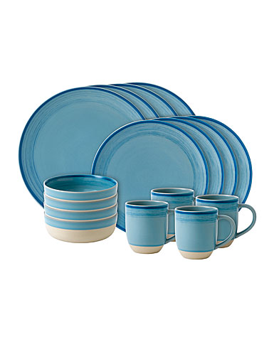 Royal Doulton Ellen DeGeneres Polar Blue Brushed Glaze 16 Piece Set