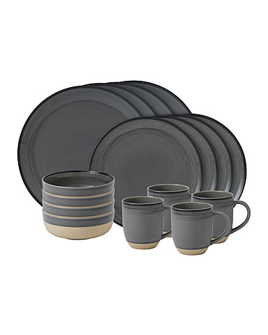 Royal Doulton Ellen DeGeneres Grey Brushed Glaze 16 Piece Set