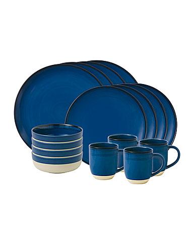 ED Ellen DeGeneres by Royal Doulton Cobalt Blue Brushed Glaze 16 Piece Set