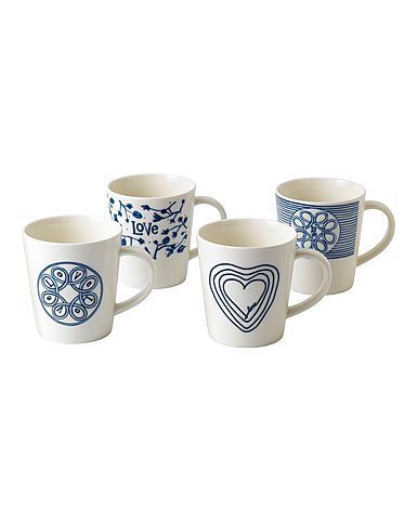 Royal Doulton Ellen DeGeneres Blue Love Mug Set of 4 Mixed