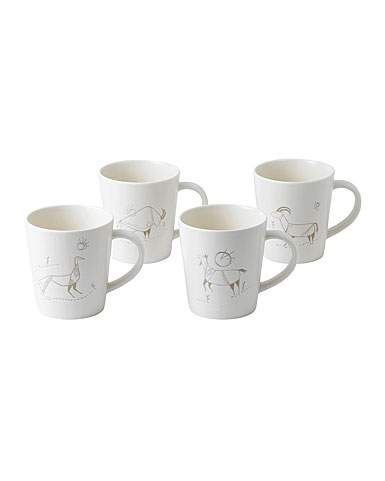 ED Ellen DeGeneres by Royal Doulton Cave Animal Mug Set of 4 Mixed