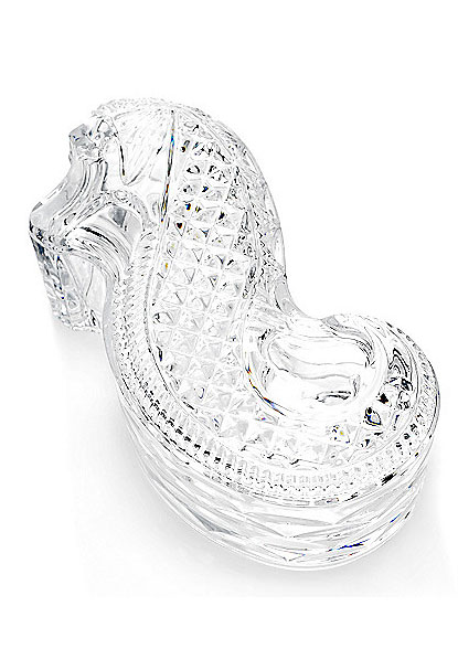 """Waterford Crystal Seahorse 8"""" Covered Box"""