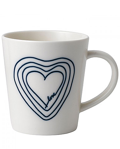 Royal Doulton Ellen DeGeneres Blue Love Mix Concentric Heart Mug, Single