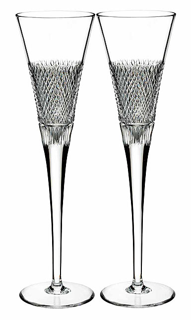 Waterford Crystal, Diamond Line Flutes, Pair