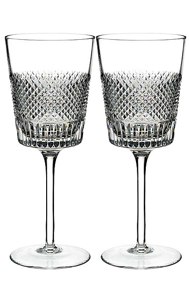 Waterford Crystal, Diamond Line Crystal Wine Glass, Pair