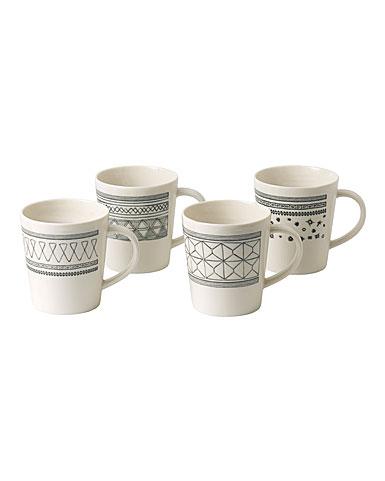 ED Ellen DeGeneres by Royal Doulton Charcoal Grey Mug Set of 4 Mixed