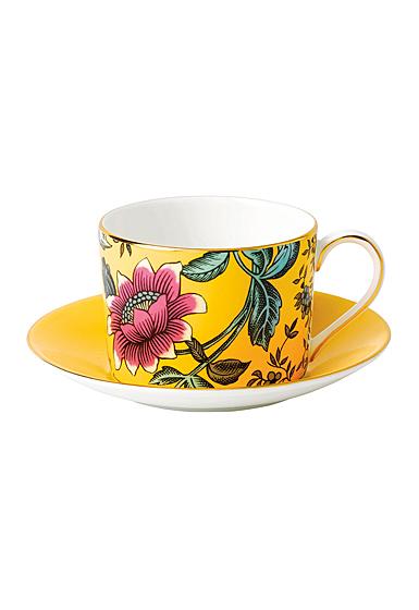 Wedgwood Wonderlust Fine Bone China Teacup and Saucer Set Yellow Tonquin