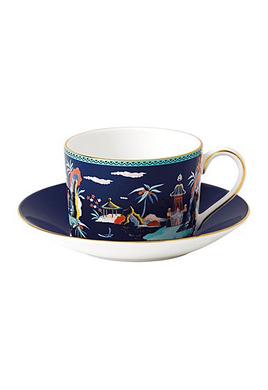 Wedgwood Wonderlust Fine Bone China Teacup and Saucer Set Blue Pagoda