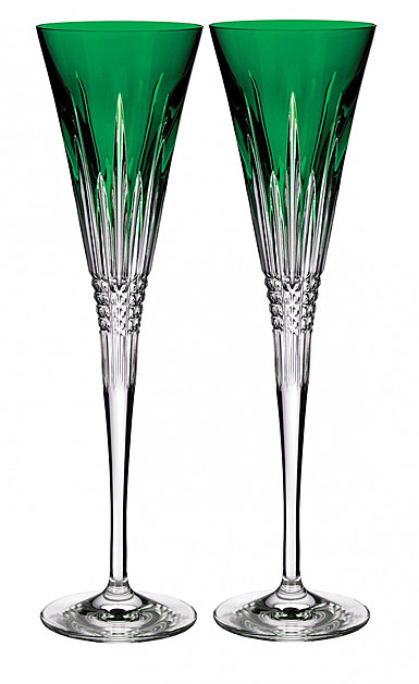 Waterford Crystal Lismore Diamond Emerald Toasting Flute Pair