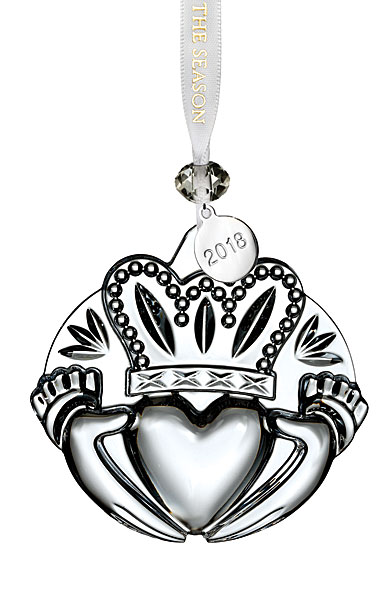 Waterford Crystal, 2018 Clear Claddagh Ornament