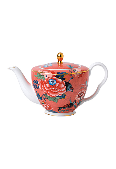 Wedgwood China Paeonia Blush Teapot Coral