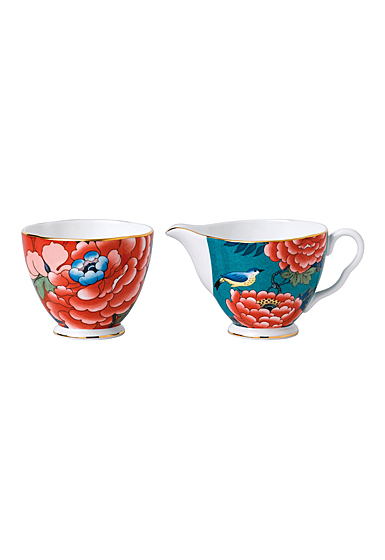 Wedgwood China Paeonia Blush Cream and Sugar Set , Green and Red