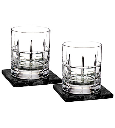 Waterford Crystal, Cluin DOF Tumblers With Marble Coasters, Pair
