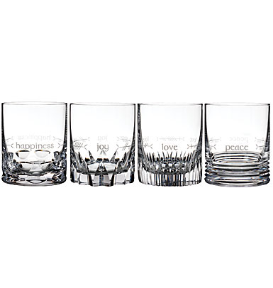 Waterford Crystal, Ogham Crystal DOF Tumblers, Mixed Set of Four